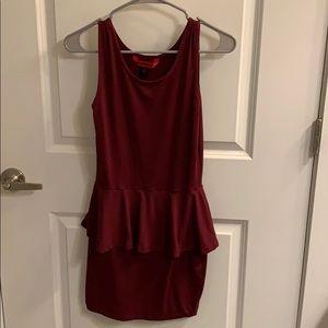 Deep red peplum dress